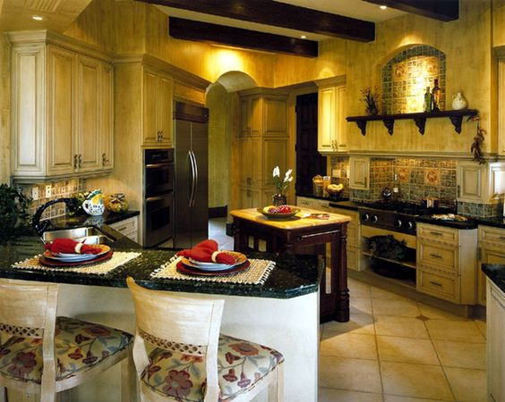 My dream kitchen...Tuscan and Italian vineyard type of style...I already have over 10 empty wine bottles