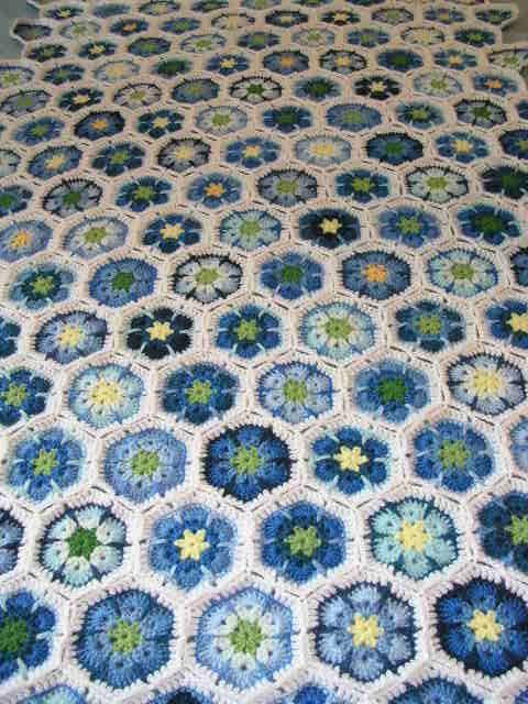 African Flower Written Crochet Pattern : Blue crochet Hexagons -- African Flower Crochet Love ...