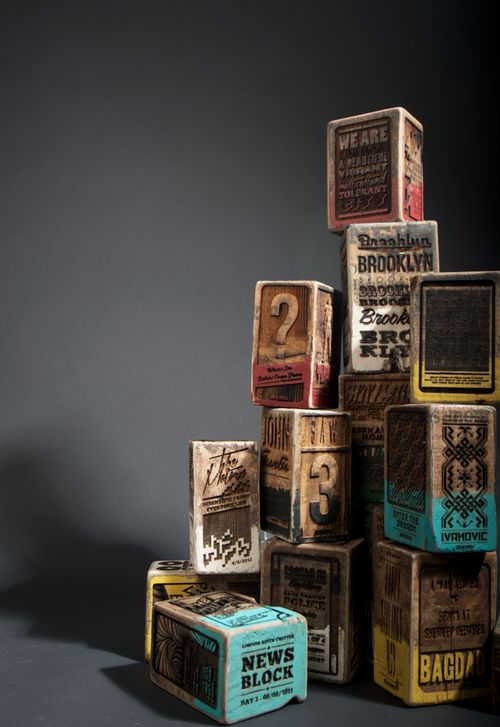 Laser engraved wood blocks by Kudzd.