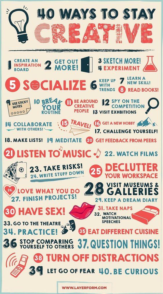 """Le blog de design Layerform Magazinebasé à Londres vient de publier une infographie très intéressante intitulée """"40 moyens pour rester créatifs"""". Différentes"""