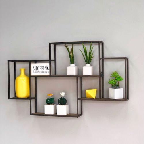 Metal And Wood Shelf Home Decor Shelves Home Decor Accessories Geometric Shelves
