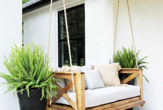 How To Build A Crib Mattress Porch Swing Plank And Pillow Porch Swing Diy Porch Swing Porch Swing Bed
