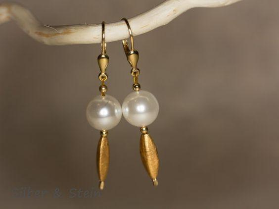 Perlen Ohrringe gold von SilberundStein auf EtsyHochzeit  Schmuck  Ohrringe  Perle  Ohrringe  Ohrhänger  echt  weiß  edelstein  lang  Hochzeit  Braut kreole  gold  vergoldet  perlen ohrringe