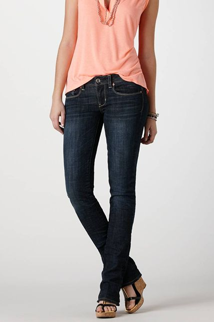 """Skinny Kick"" jeans from American Eagle - for women who actually, you know, have hips and thighs."