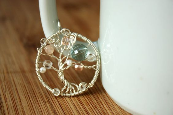 Another Tree of Life pendant with vintage Czech glass crystal beads, repurposed acrylic beads, and as always USA-made 100% recycled sterling silver.