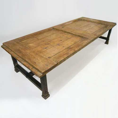 Large French Coffee Table: Large French Farmhouse Pine Door And Iron Base Coffee