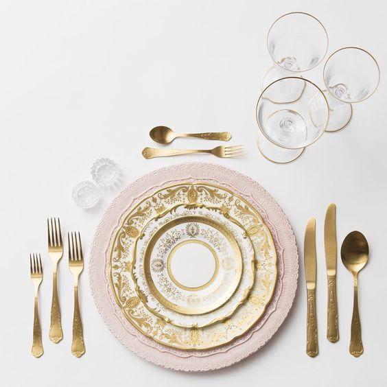 Lace Charger in Blush + Crown Gold Collection Vintage China + Chateau Flatware + Gold Rimmed Stemware + Antique Crystal Salt Cellars   Casa de Perrin Design Presentation