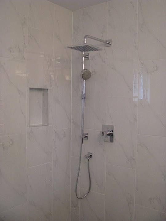 Chrome Shower Fixtures Marble Pattern Porcelain Tile Bathroom Beautiful Bathrooms Shower Fixtures