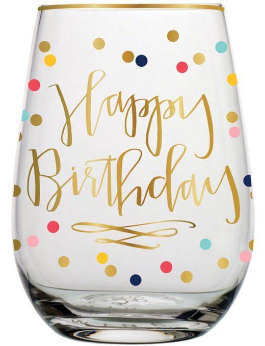 Festive Happy Birthday stemless wine glass