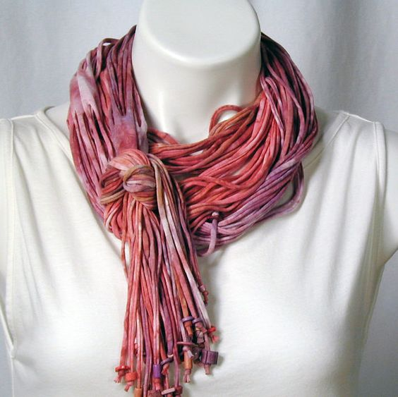 The Soba Scarf in Watermelon and Phlox by dyedianadye on Etsy, $54.00