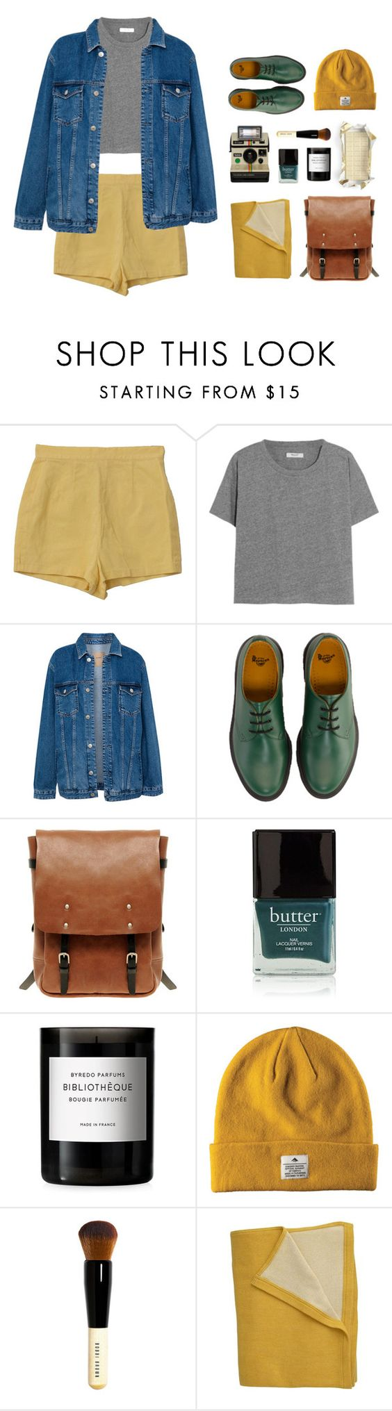 """""""Mustard"""" by its-just-me-boggy ❤ liked on Polyvore featuring Retrò, Madewell, Pull&Bear, Dr. Martens, Ally Capellino, Polaroid, Butter London, Byredo and Bobbi Brown Cosmetics"""