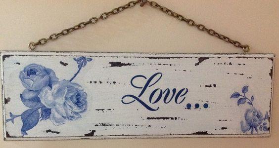 Placa decorativa provençal, decoupage com guardanapo e stencil. R$ 28,00