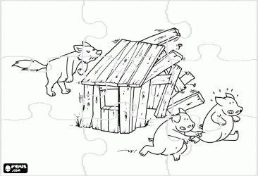 Coloriage puzzle des trois petits cochons le loup d molit - Coloriage trois petits cochons ...