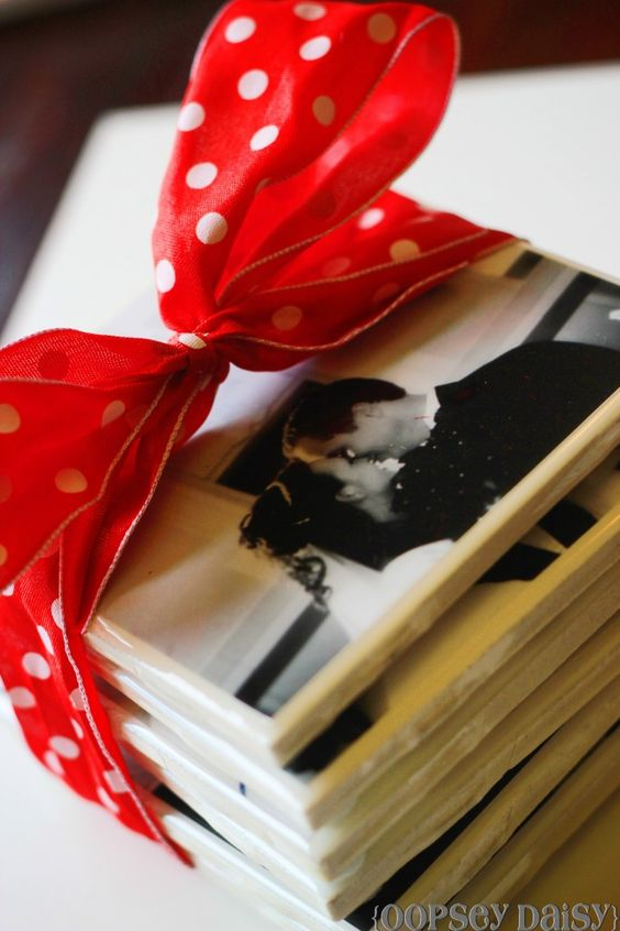 photo coasters: 4x4 tiles and 4x4 pics, glue photo onto tile with glue stick, cover with resin, mount 4 felt circles onto bottom corners - great gift idea!!! I love this!!: