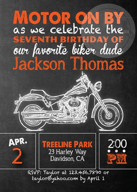 Harley Davidson Birthday Party Invitation by socalcrafty on Etsy