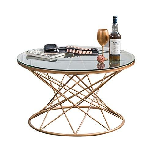 Round Coffee Table Solid Metal Material Transparent Glass Panel