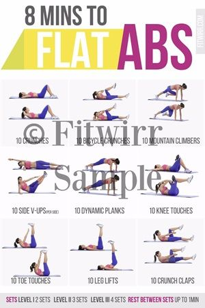 8 Minute Abs Workout poster. Get ready for flat and toned abs. Grab this ab routine poster to get started today.#absexercises #absroutine