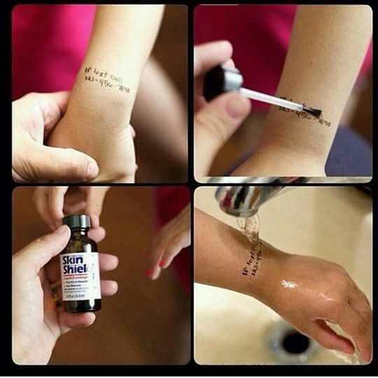Write a cell number on ur child's wrist.