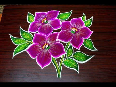 Latest Flower Rangoli Designs For Diwali 2017 Simple Kolam Designs Freehand Muggulu Youtube Simple Flower Design Rangoli Designs Flower Rangoli
