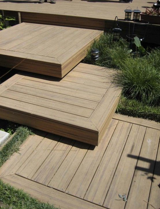 Platform decking ideas and deck steps on pinterest for Garden decking ideas pinterest