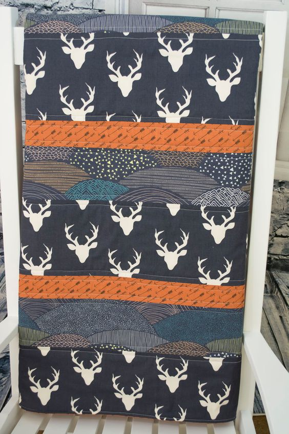 Rustic Boy Quilt Moose Baby Tribal Navy