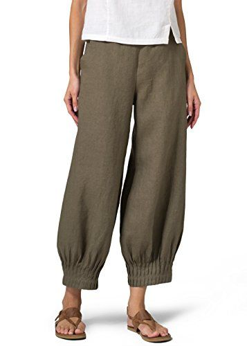 Vivid Linen Pleated Cuff Crop Pants-M-Khaki Green * More info could be found at the image url.