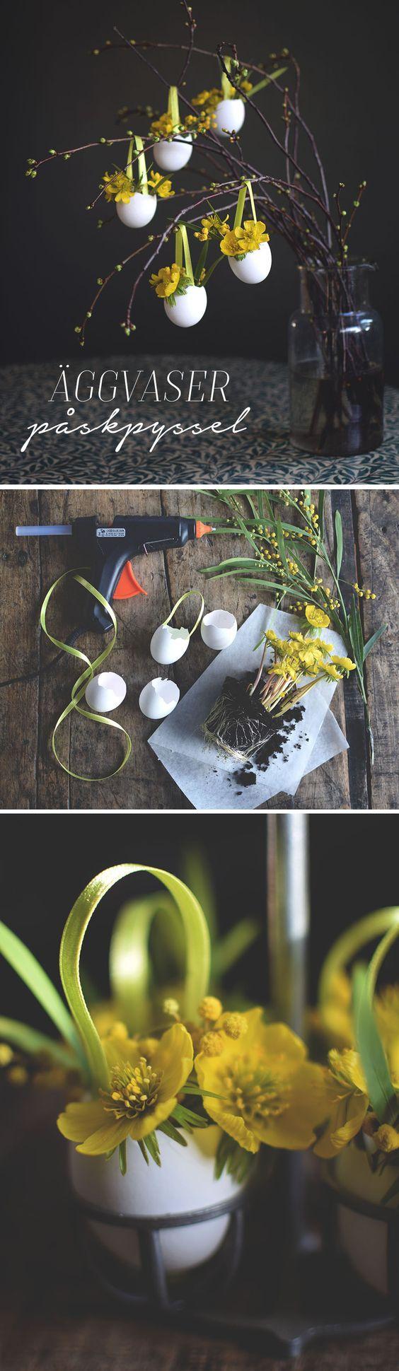 Påskpyssel_Gör vackra dekorationer till påskriset, små äggvaser, påskägg, att ha blommor i. DIY_easter crafts_make small vases from eggshells. Easter eggs _@helenalyth.se: