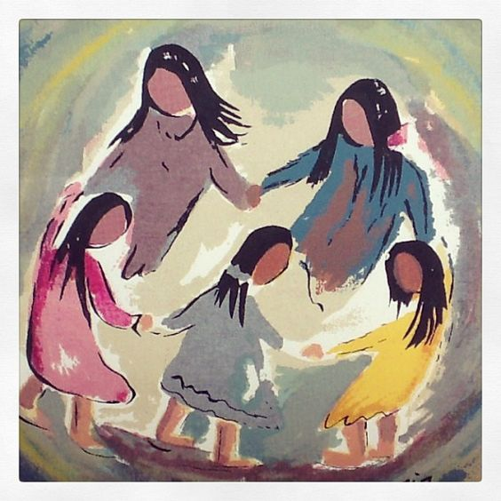 A DeGrazia serigraph of a circle of friends.