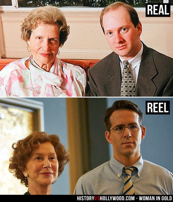 Maria Altmann and Randy Schoenberg (top) are portrayed by Helen Mirren and Ryan Reynolds in the Woman in Gold movie. See more pics here: http://www.historyvshollywood.com/reelfaces/woman-in-gold/