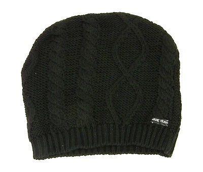 Jane Tran Women's Mottled Cable Knit Beanie Hat in Deep Black 122