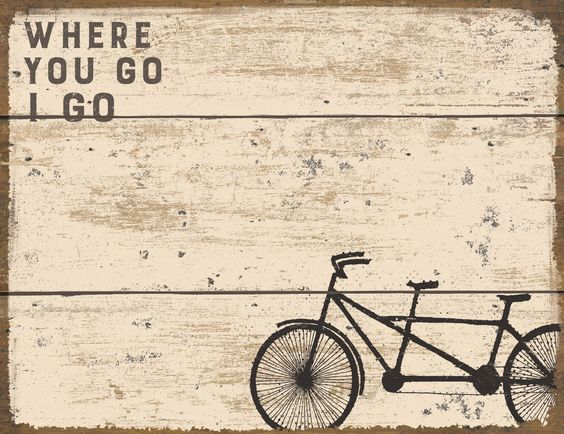 Where You Go I Go - Vintage Travel Themed Notepad with Tandem Bicycle Built for Two