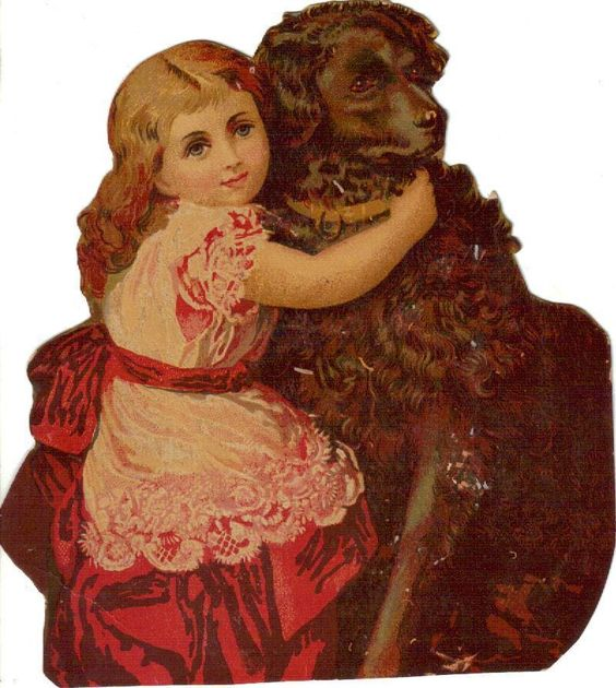 Larger Victorian Die Cut Scrap Little Girl Giant Dog c1880s: