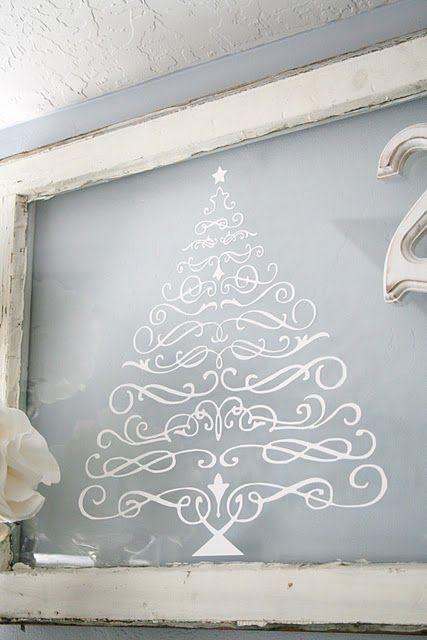 christmas tree decal on chalkboard