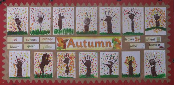 Autumn finger painting classroom display photo - Photo gallery - SparkleBox