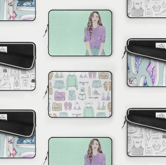 FREE SHIPPING + US$5 OFF LAPTOP SLEEVES now thru midnight 8.9.15 / Using only this link: https://society6.com/catalinagraphic?promo=B7GQDZ3CG7QF #illustration #laptop #sleeves