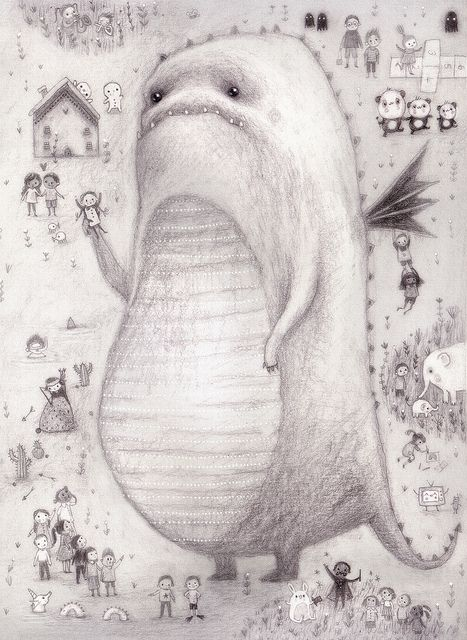 lisa evan's drawing :Big Crunch (crop from spread 2.) by firefluff, via Flickr