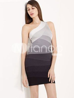 Gradient!: Fashion, Party Dresses, Party'S, Parties, One Shoulder, Gray, Gradient