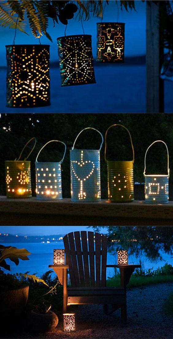28 super creative & beautiful DIY Outdoor Lights you can make in one hour!  Using up-cycled or common materials such as tin cans, wine bottles, wood, paper, grapevines, and lots more! - A Piece Of Rainbow
