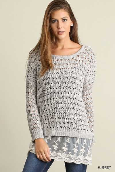 Umgee grey Long sleeve knit sweater with lace details