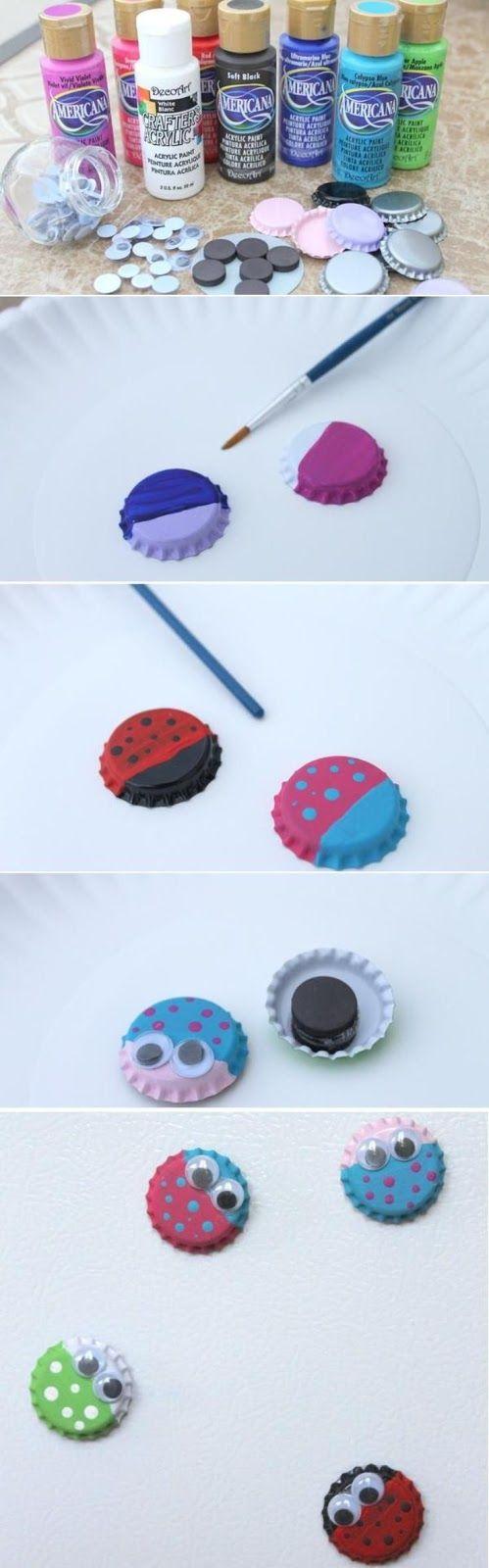 Bug Magnets from Bottle Caps // Imanes con tapas de botellas
