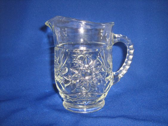 1 Pint Milk Pitcher 1960s Star of David Pressed Glass by Anchor Hocking at TheMichiganAttic