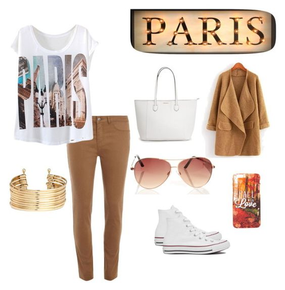 """Afternoon stroll in Paris"" by antoniaguzmans ❤ liked on Polyvore featuring interior, interiors, interior design, home, home decor, interior decorating, Dorothy Perkins, Converse and H&M"