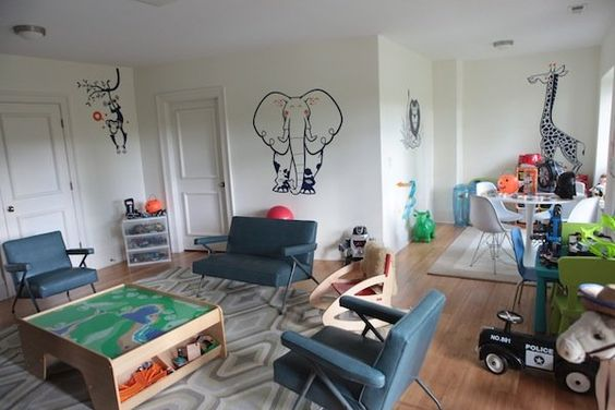 Stuart and Leyla Gans wanted their home to be, above all, a place where they could raise their three boys. This lower level playroom would be any child's creative mecca.
