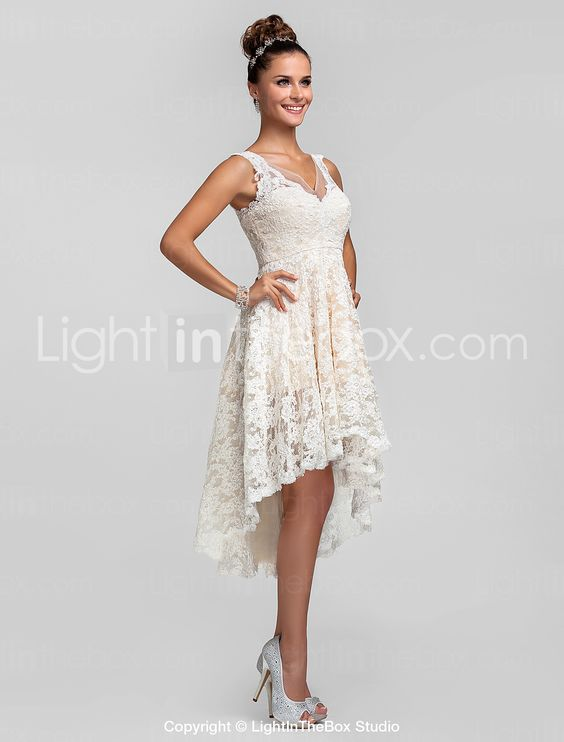 Cocktail Party / Prom / Homecoming / Wedding Party Dress - Ivory Plus Sizes / Petite A-line / Princess V-neck Asymmetrical Lace 733754 2016 – $89.99
