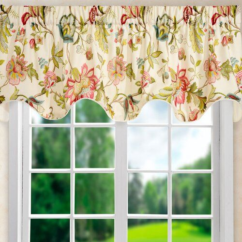 Cotton Curtains Cafe Curtains Kitchen Valance Panels Curtains Green Floral