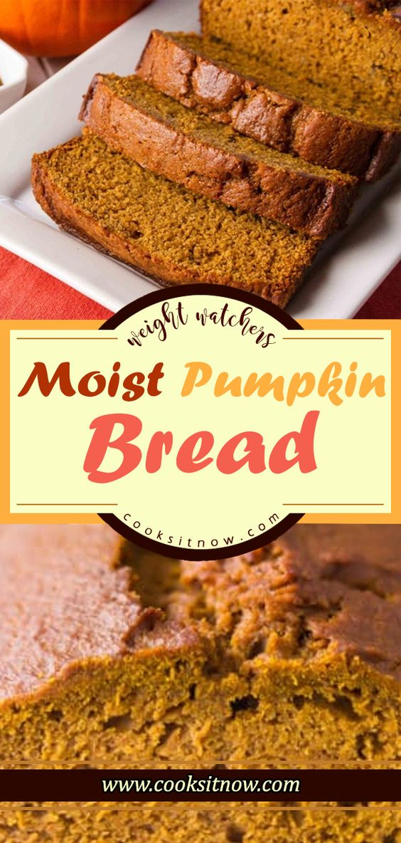 Moist Pumpkin Bread. This is the most delicious pumpkin bread you will ever have. #fall #pumpkin #bread #baking #food #foodblogger #pumpkinbread #WW #Weight_Watchers