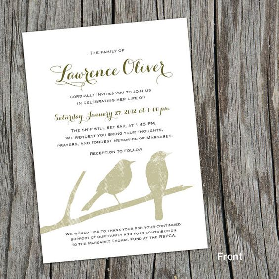 Modern Mourning Cards for Memorial Funeral Announcements or – Funeral Invitation Card