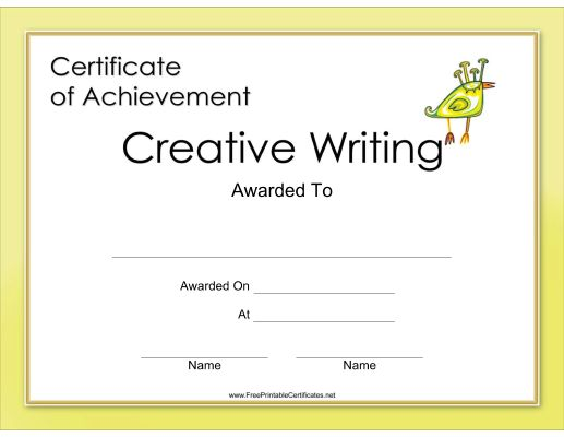 creative writing certificates online Online creative writing degrees the courses listed below may be taken as a creative writing certificate or applied as a major concentration toward any of the following online creative writing degrees: associate of christian arts, bachelor of christian arts, master of christian arts, or doctor of christian arts.