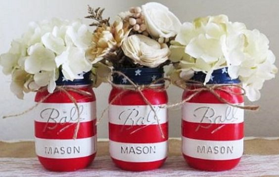 Patriotic Mason Jar Flower Vases