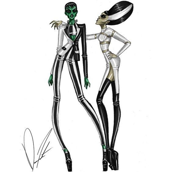 IT'S ALIVE!!!, Frankenstein and the Bride of Frankenstein by Daren J #Halloween #monster #Frankenstein #thebrideoffrankenstein #trickortreat #style #instyle #fashion #fashionart #fashionillustration #fashiondesign #highfashionillustration #highfashionart #highfashion #highfashiondesign #design #illustration #art  #glam #glamour #glamorous #runway #runwayready #outfit #instadesign #instaglam #instafashion #darenj